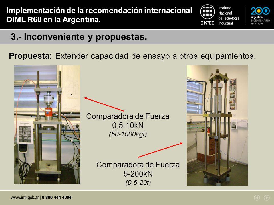 Propuesta: Extender capacidad de ensayo a otros equipamientos. 3.- Inconveniente y propuestas. Implementación de la recomendación internacional OIML R