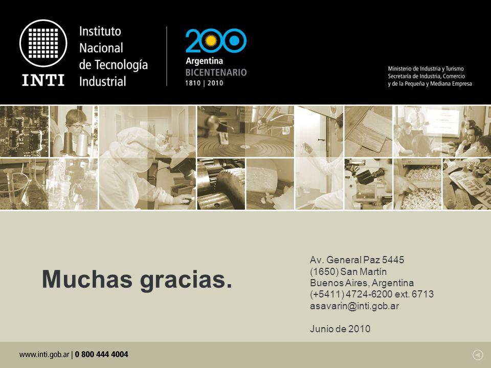 Av. General Paz 5445 (1650) San Martín Buenos Aires, Argentina (+5411) 4724-6200 ext. 6713 asavarin@inti.gob.ar Junio de 2010 Muchas gracias.