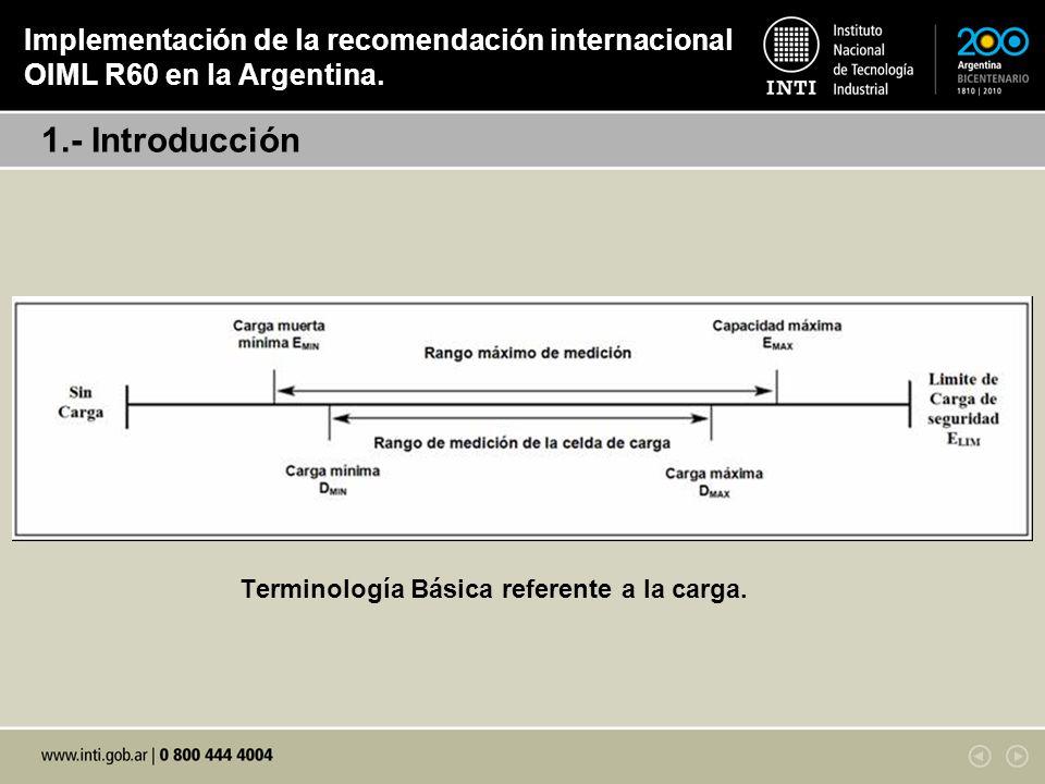 Terminología Básica referente a la carga. 1.- Introducción Implementación de la recomendación internacional OIML R60 en la Argentina.