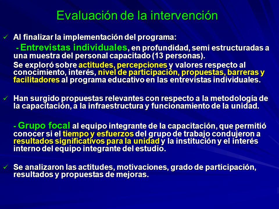 Evaluación de la intervención Al finalizar la implementación del programa: Al finalizar la implementación del programa: - Entrevistas individuales, en