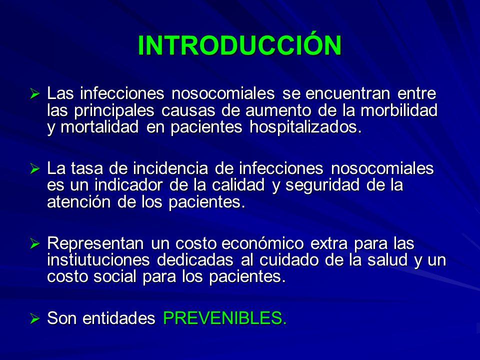 INTRODUCCIÓN Las infecciones nosocomiales se encuentran entre las principales causas de aumento de la morbilidad y mortalidad en pacientes hospitaliza