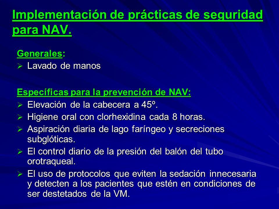Implementación de prácticas de seguridad para NAV. Generales: Lavado de manos Lavado de manos Específicas para la prevención de NAV: Elevación de la c