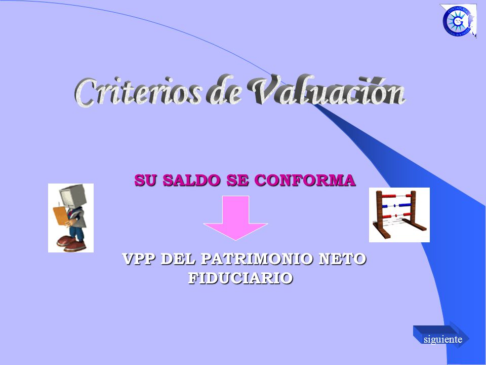 siguiente VPP DEL PATRIMONIO NETO VPP DEL PATRIMONIO NETO FIDUCIARIO FIDUCIARIO SU SALDO SE CONFORMA