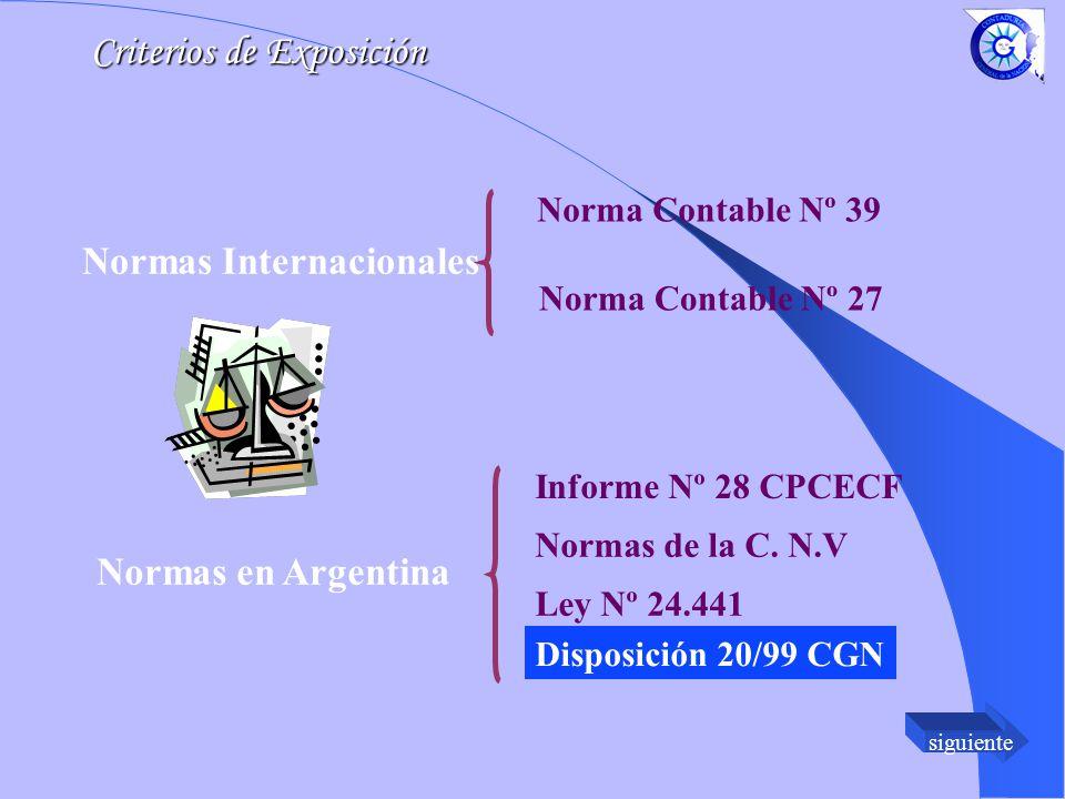 siguiente Norma Contable Nº 39 Norma Contable Nº 27 Informe Nº 28 CPCECF Normas de la C.