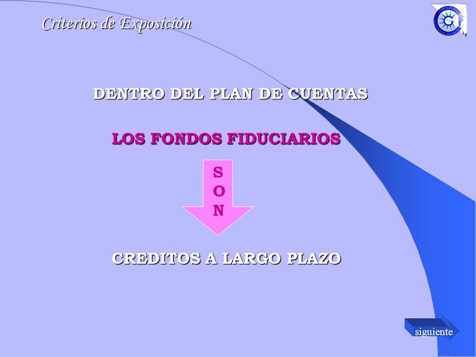 siguiente DENTRO DEL PLAN DE CUENTAS LOS FONDOS FIDUCIARIOS SONSON CREDITOS A LARGO PLAZO Criterios de Exposición