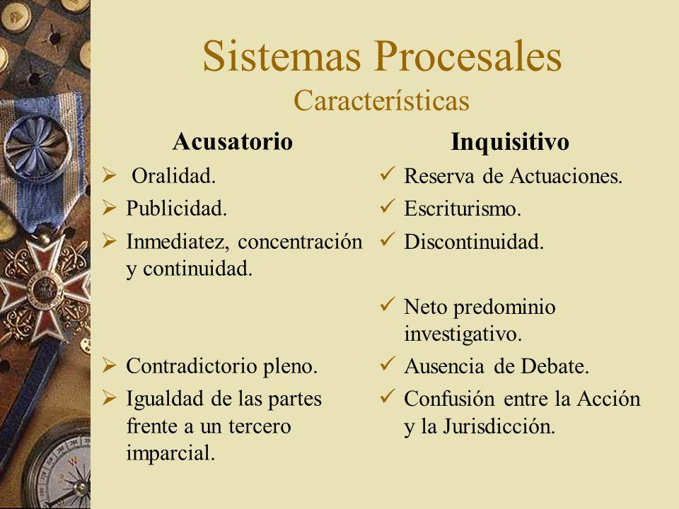Sistemas Procesales Características Inquisitivo Reserva de Actuaciones. Escriturismo. Discontinuidad. Neto predominio investigativo. Ausencia de Debat