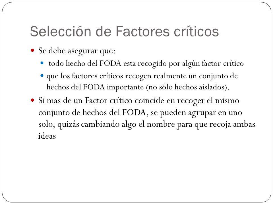 Selección de Factores críticos Se debe asegurar que: todo hecho del FODA esta recogido por algún factor crítico que los factores críticos recogen real