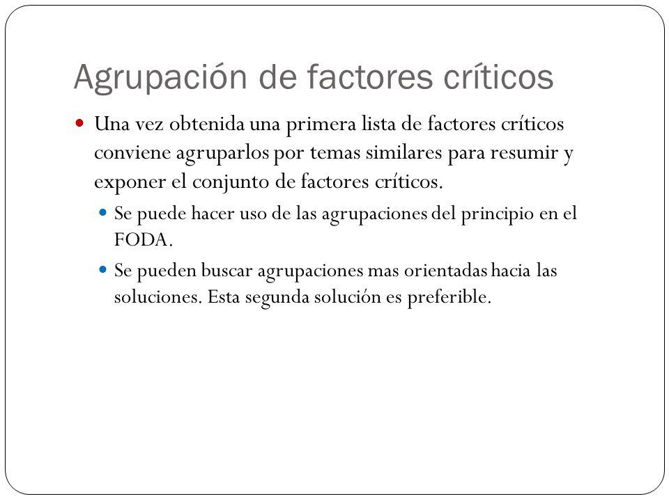 Agrupación de factores críticos Una vez obtenida una primera lista de factores críticos conviene agruparlos por temas similares para resumir y exponer