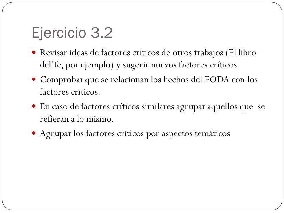 Ejercicio 3.2 Revisar ideas de factores críticos de otros trabajos (El libro del Te, por ejemplo) y sugerir nuevos factores críticos. Comprobar que se