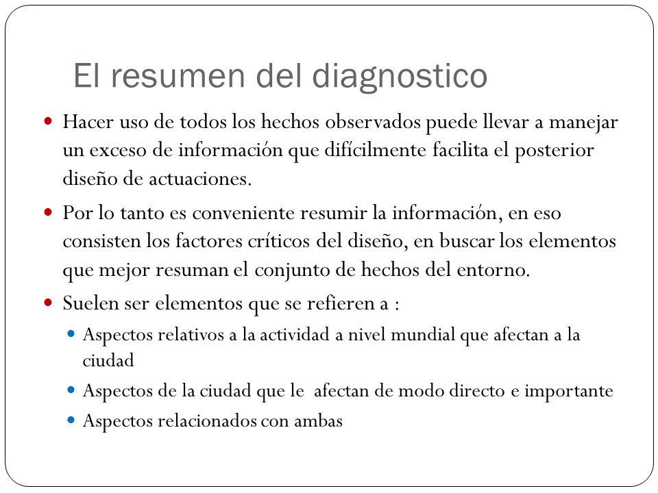 El resumen del diagnostico Hacer uso de todos los hechos observados puede llevar a manejar un exceso de información que difícilmente facilita el poste