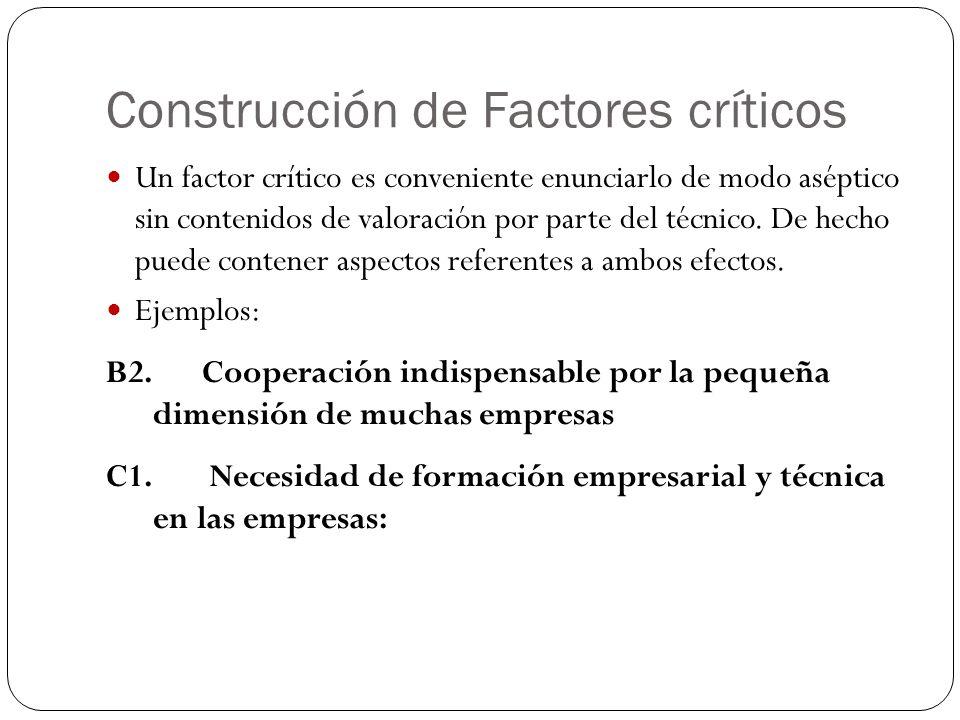 Construcción de Factores críticos Un factor crítico es conveniente enunciarlo de modo aséptico sin contenidos de valoración por parte del técnico. De