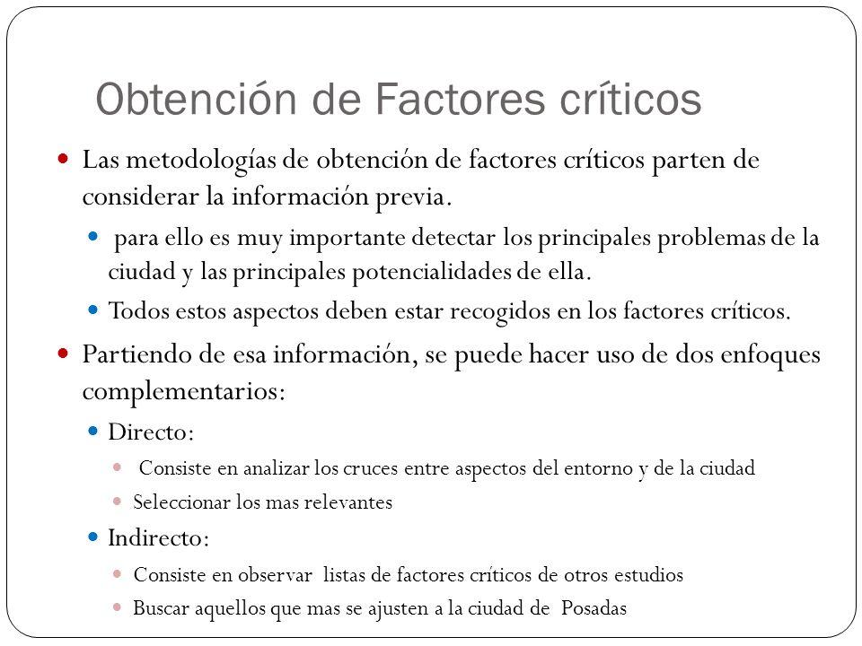 Obtención de Factores críticos Las metodologías de obtención de factores críticos parten de considerar la información previa. para ello es muy importa
