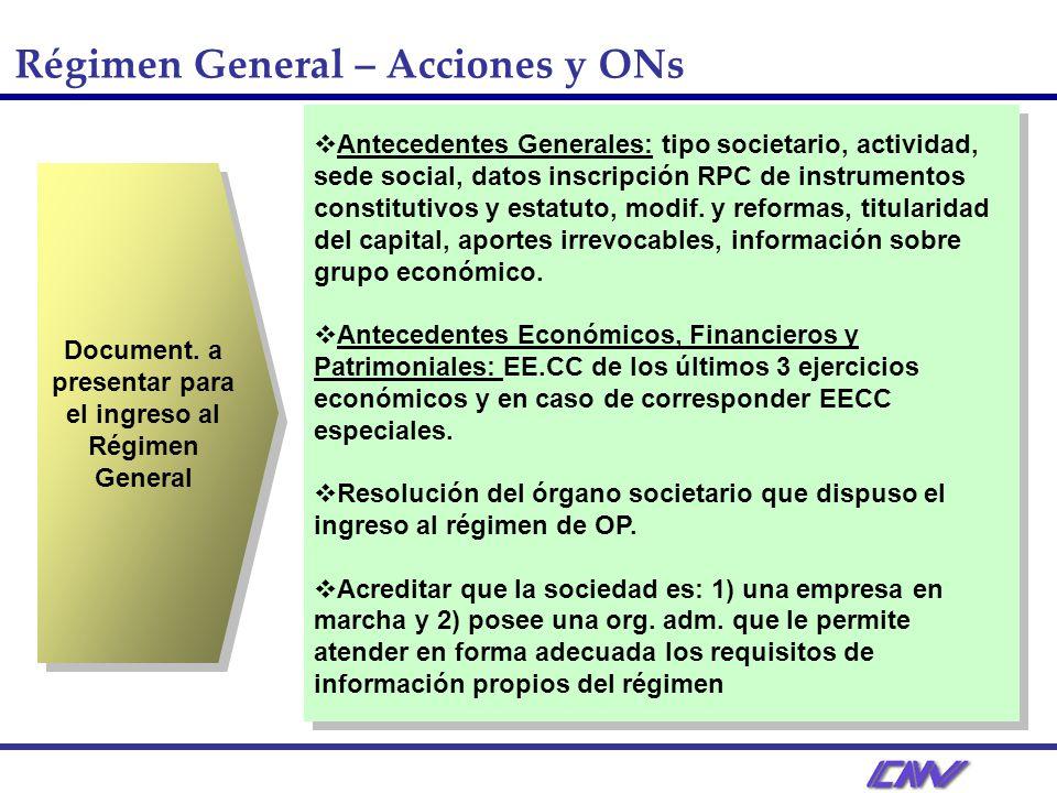 Régimen General – Acciones y ONs Document.