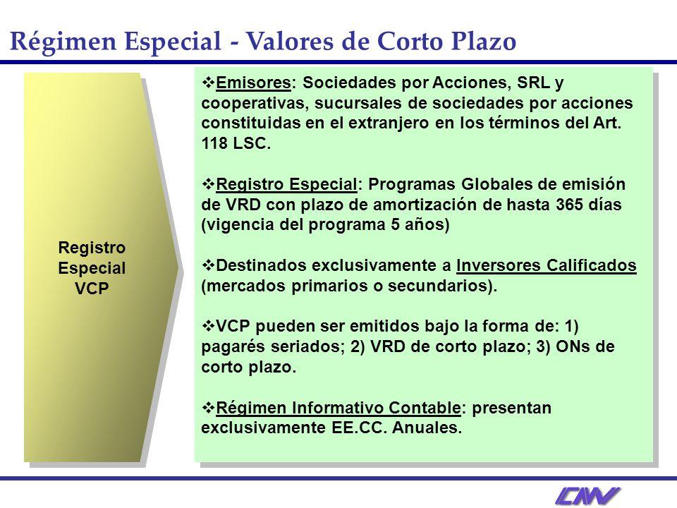 Régimen Especial - Valores de Corto Plazo Registro Especial VCP Registro Especial VCP Emisores: Sociedades por Acciones, SRL y cooperativas, sucursales de sociedades por acciones constituidas en el extranjero en los términos del Art.