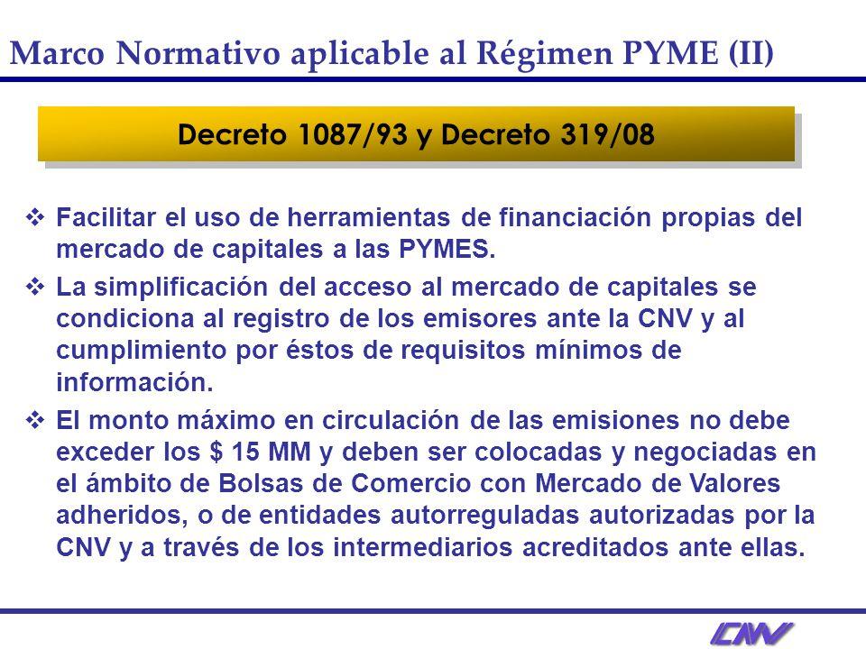 Decreto 1087/93 y Decreto 319/08 Facilitar el uso de herramientas de financiación propias del mercado de capitales a las PYMES.