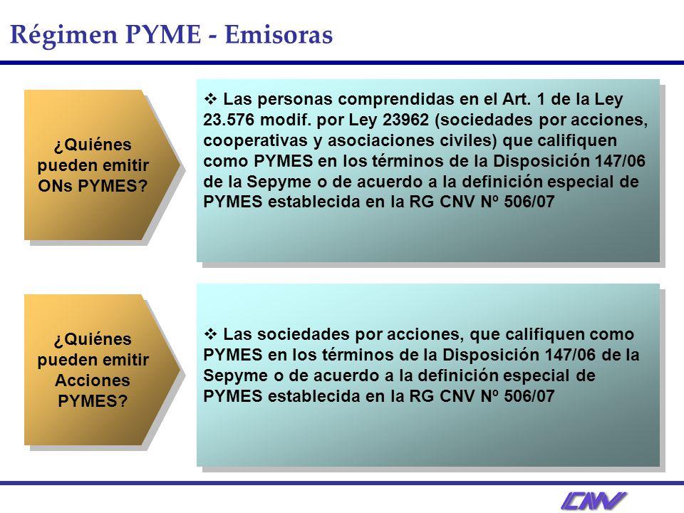 Régimen PYME - Emisoras ¿Quiénes pueden emitir ONs PYMES.