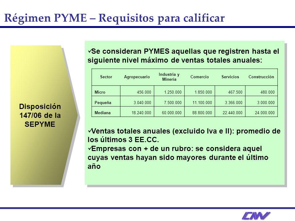 Régimen PYME – Requisitos para calificar Disposición 147/06 de la SEPYME Se consideran PYMES aquellas que registren hasta el siguiente nivel máximo de ventas totales anuales: Ventas totales anuales (excluido Iva e II): promedio de los últimos 3 EE.CC.