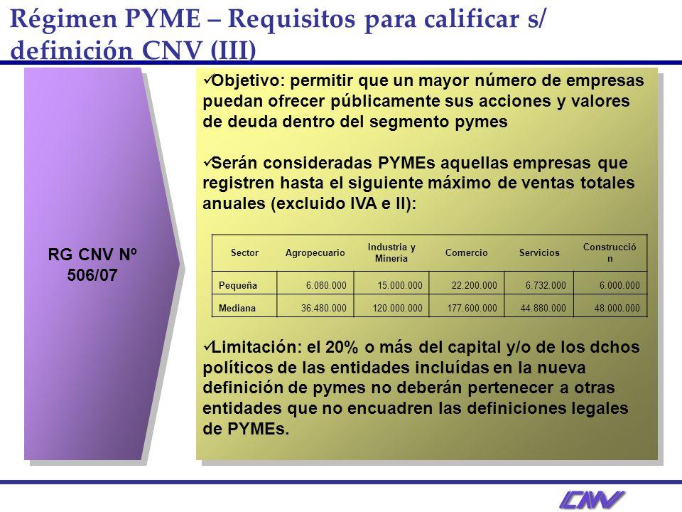 Régimen PYME – Requisitos para calificar s/ definición CNV (III) RG CNV Nº 506/07 Objetivo: permitir que un mayor número de empresas puedan ofrecer públicamente sus acciones y valores de deuda dentro del segmento pymes Serán consideradas PYMEs aquellas empresas que registren hasta el siguiente máximo de ventas totales anuales (excluido IVA e II): Limitación: el 20% o más del capital y/o de los dchos políticos de las entidades incluídas en la nueva definición de pymes no deberán pertenecer a otras entidades que no encuadren las definiciones legales de PYMEs.
