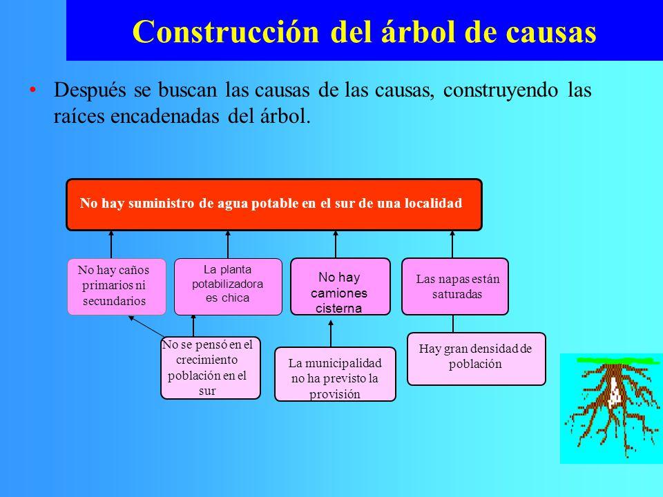 Después se buscan las causas de las causas, construyendo las raíces encadenadas del árbol. Construcción del árbol de causas La municipalidad no ha pre