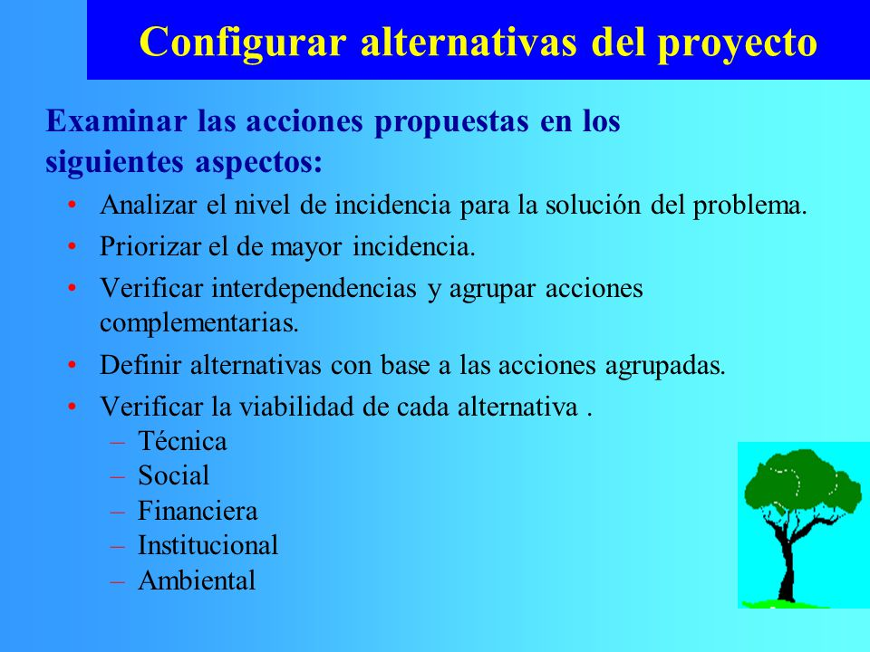 Configurar alternativas del proyecto Analizar el nivel de incidencia para la solución del problema. Priorizar el de mayor incidencia. Verificar interd