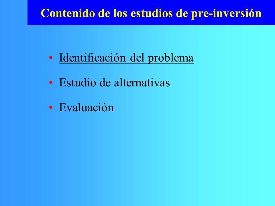Contenido de los estudios de pre-inversión Identificación del problema Estudio de alternativas Evaluación