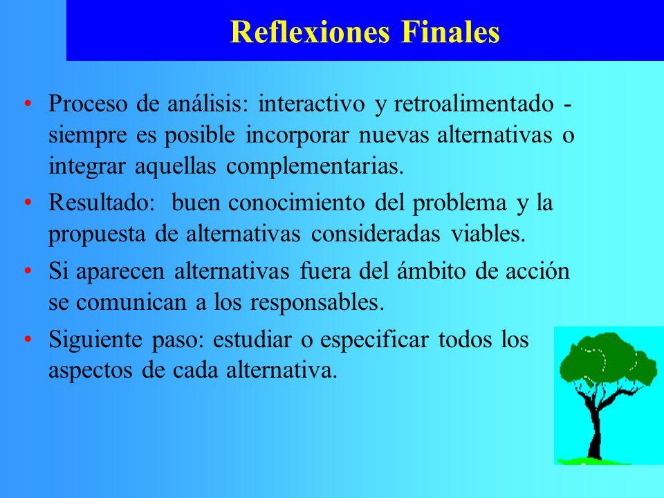 Reflexiones Finales Proceso de análisis: interactivo y retroalimentado - siempre es posible incorporar nuevas alternativas o integrar aquellas complem