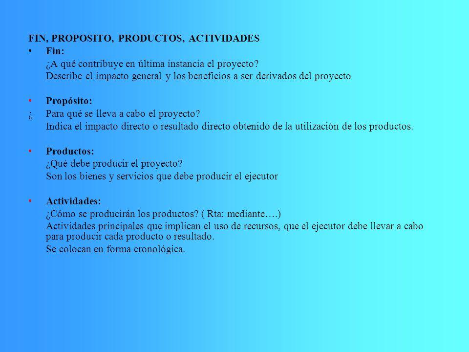 FIN, PROPOSITO, PRODUCTOS, ACTIVIDADES Fin: ¿A qué contribuye en última instancia el proyecto? Describe el impacto general y los beneficios a ser deri