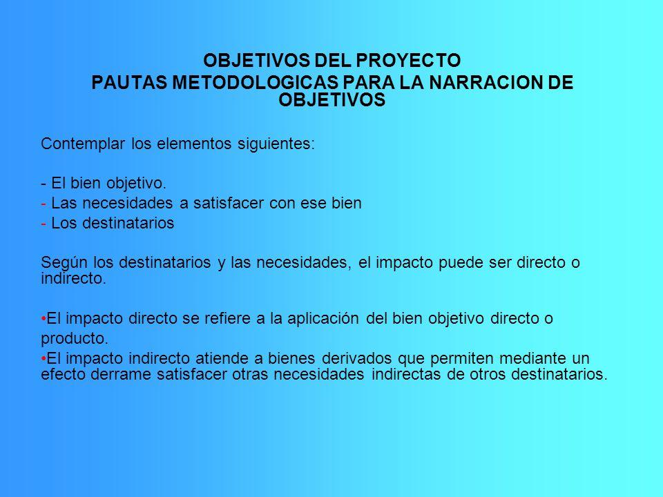 OBJETIVOS DEL PROYECTO PAUTAS METODOLOGICAS PARA LA NARRACION DE OBJETIVOS Contemplar los elementos siguientes: - El bien objetivo. - Las necesidades