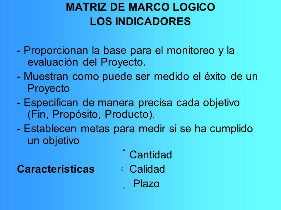 MATRIZ DE MARCO LOGICO LOS INDICADORES - Proporcionan la base para el monitoreo y la evaluación del Proyecto. - Muestran como puede ser medido el éxit