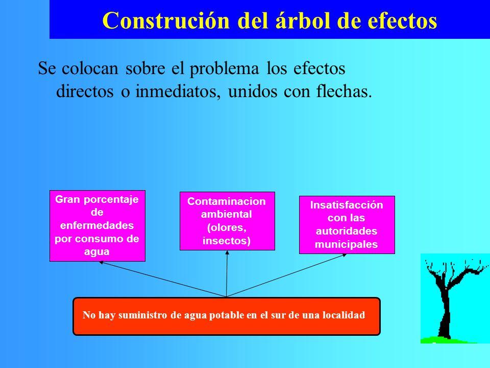 Se colocan sobre el problema los efectos directos o inmediatos, unidos con flechas. Construción del árbol de efectos No hay suministro de agua potable