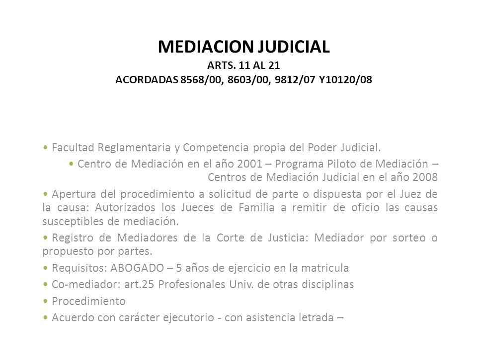 MEDIACION JUDICIAL ARTS. 11 AL 21 ACORDADAS 8568/00, 8603/00, 9812/07 Y10120/08 Facultad Reglamentaria y Competencia propia del Poder Judicial. Centro