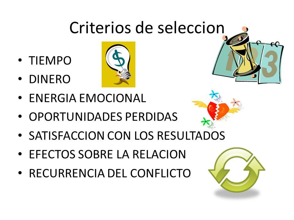 Criterios de seleccion TIEMPO DINERO ENERGIA EMOCIONAL OPORTUNIDADES PERDIDAS SATISFACCION CON LOS RESULTADOS EFECTOS SOBRE LA RELACION RECURRENCIA DE