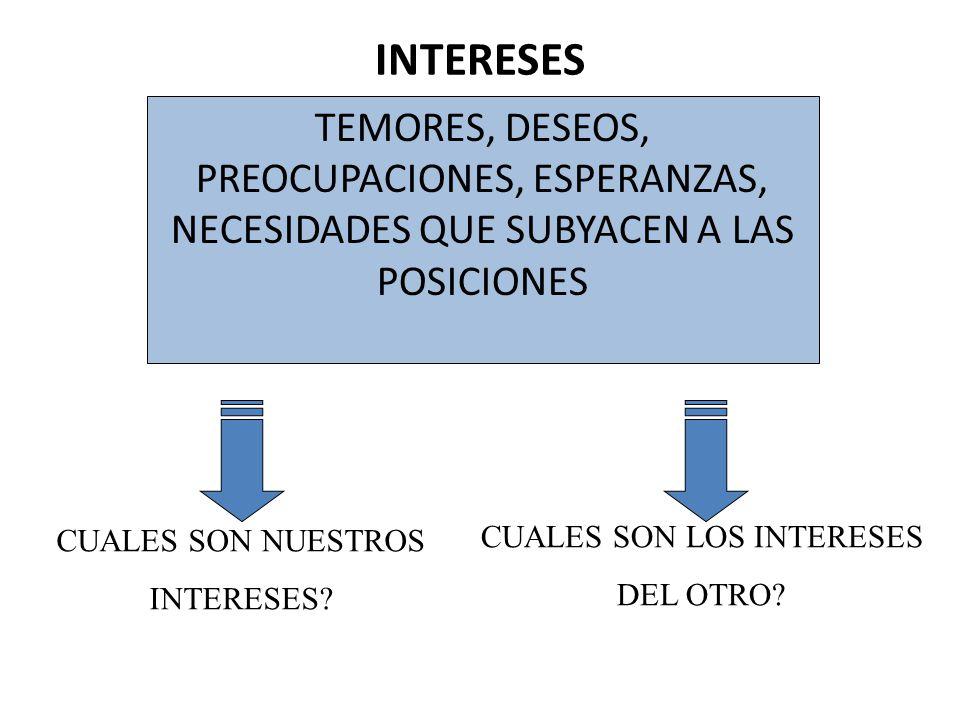 INTERESES TEMORES, DESEOS, PREOCUPACIONES, ESPERANZAS, NECESIDADES QUE SUBYACEN A LAS POSICIONES CUALES SON NUESTROS INTERESES? CUALES SON LOS INTERES