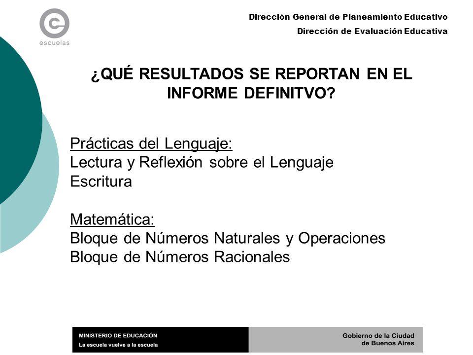 Dirección General de Planeamiento Educativo Dirección de Evaluación Educativa ¿QUÉ RESULTADOS SE REPORTAN EN EL INFORME DEFINITVO? Prácticas del Lengu