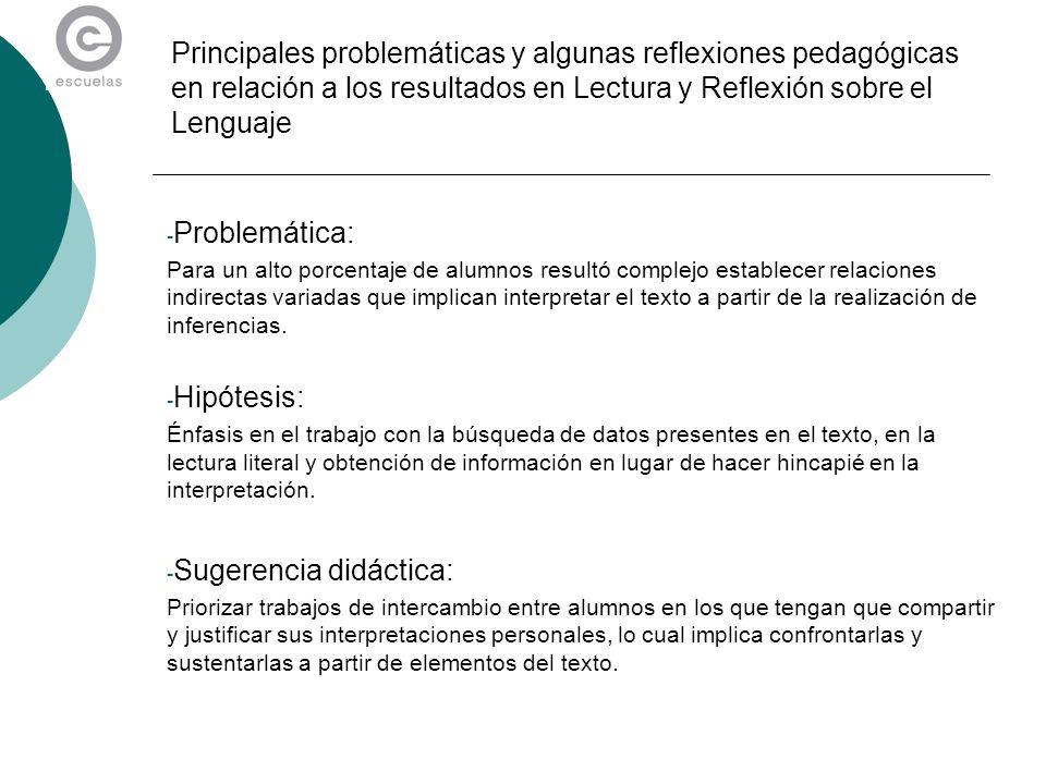 Principales problemáticas y algunas reflexiones pedagógicas en relación a los resultados en Lectura y Reflexión sobre el Lenguaje - Problemática: Para