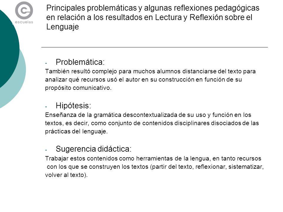 Principales problemáticas y algunas reflexiones pedagógicas en relación a los resultados en Lectura y Reflexión sobre el Lenguaje - Problemática: Tamb