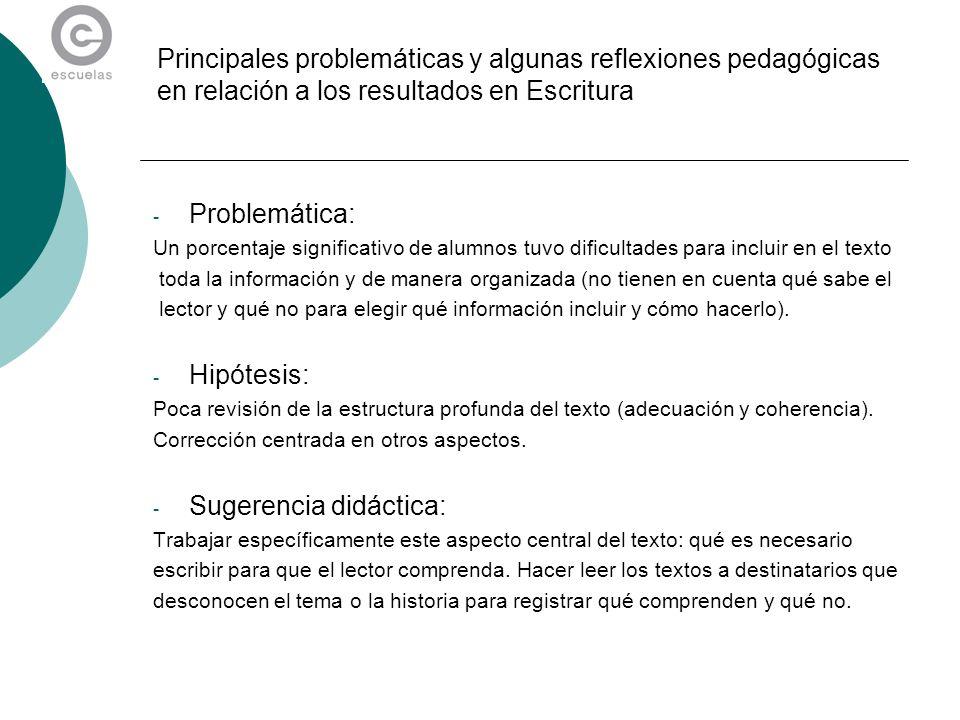 Principales problemáticas y algunas reflexiones pedagógicas en relación a los resultados en Escritura - Problemática: Un porcentaje significativo de a