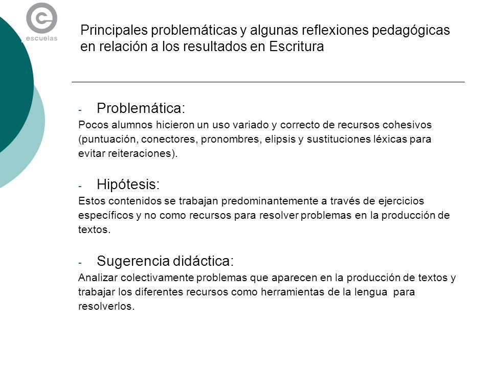 Principales problemáticas y algunas reflexiones pedagógicas en relación a los resultados en Escritura - Problemática: Pocos alumnos hicieron un uso va