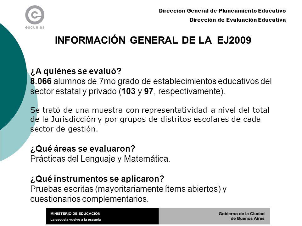 Dirección General de Planeamiento Educativo Dirección de Evaluación Educativa INFORMACIÓN GENERAL DE LA EJ2009 ¿A quiénes se evaluó? 8.066 alumnos de