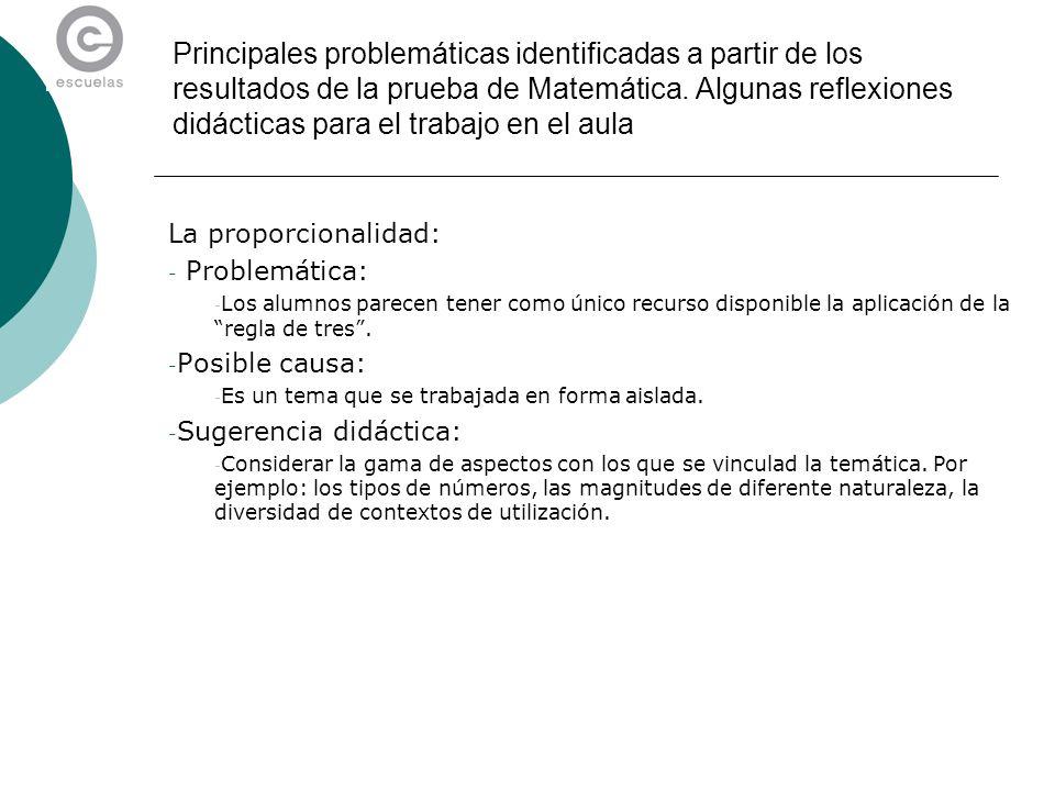 Principales problemáticas identificadas a partir de los resultados de la prueba de Matemática. Algunas reflexiones didácticas para el trabajo en el au