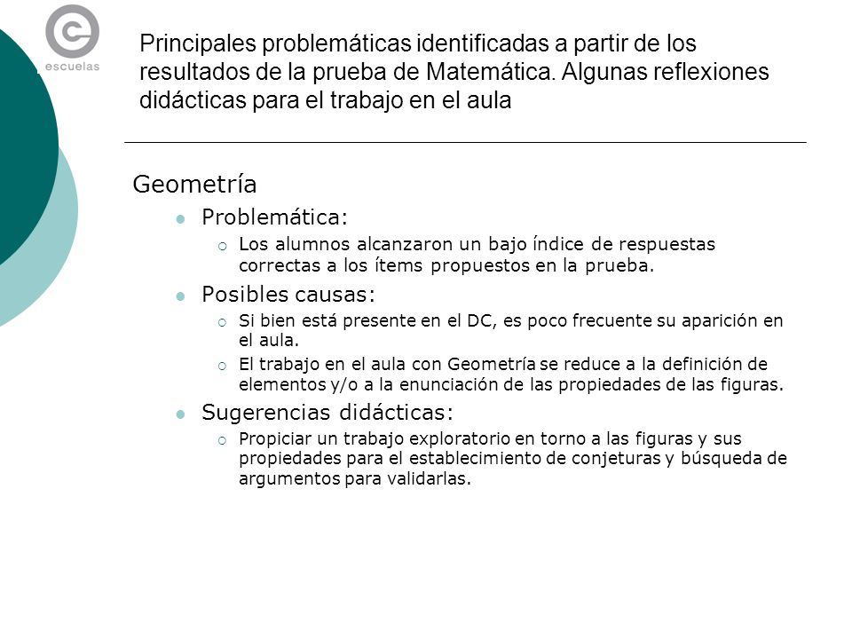 Geometría Problemática: Los alumnos alcanzaron un bajo índice de respuestas correctas a los ítems propuestos en la prueba. Posibles causas: Si bien es