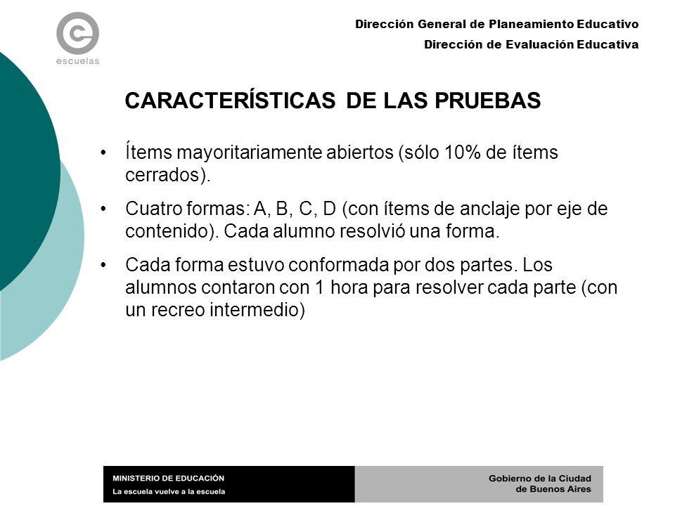 Dirección General de Planeamiento Educativo Dirección de Evaluación Educativa CARACTERÍSTICAS DE LAS PRUEBAS Ítems mayoritariamente abiertos (sólo 10%