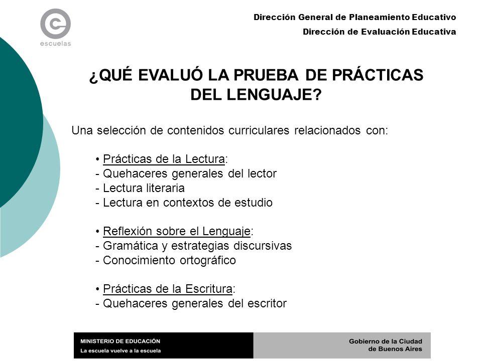 Dirección General de Planeamiento Educativo Dirección de Evaluación Educativa ¿QUÉ EVALUÓ LA PRUEBA DE PRÁCTICAS DEL LENGUAJE? Una selección de conten