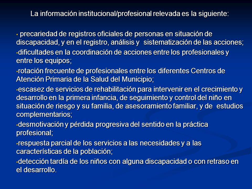 La información institucional/profesional relevada es la siguiente: precariedad de registros oficiales de personas en situación de discapacidad, y en e