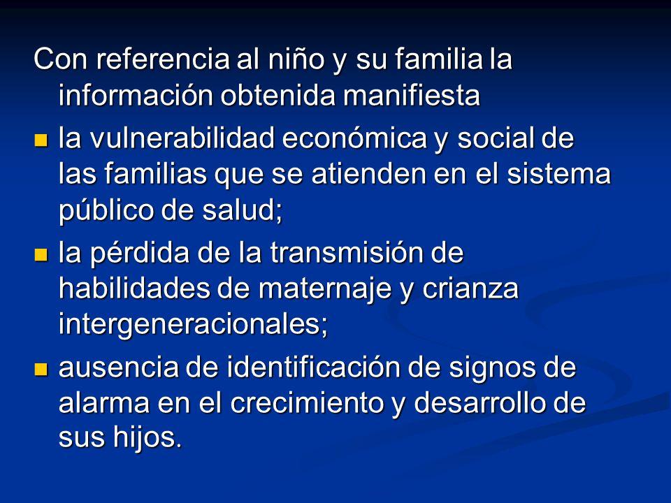 Con referencia al niño y su familia la información obtenida manifiesta la vulnerabilidad económica y social de las familias que se atienden en el sist