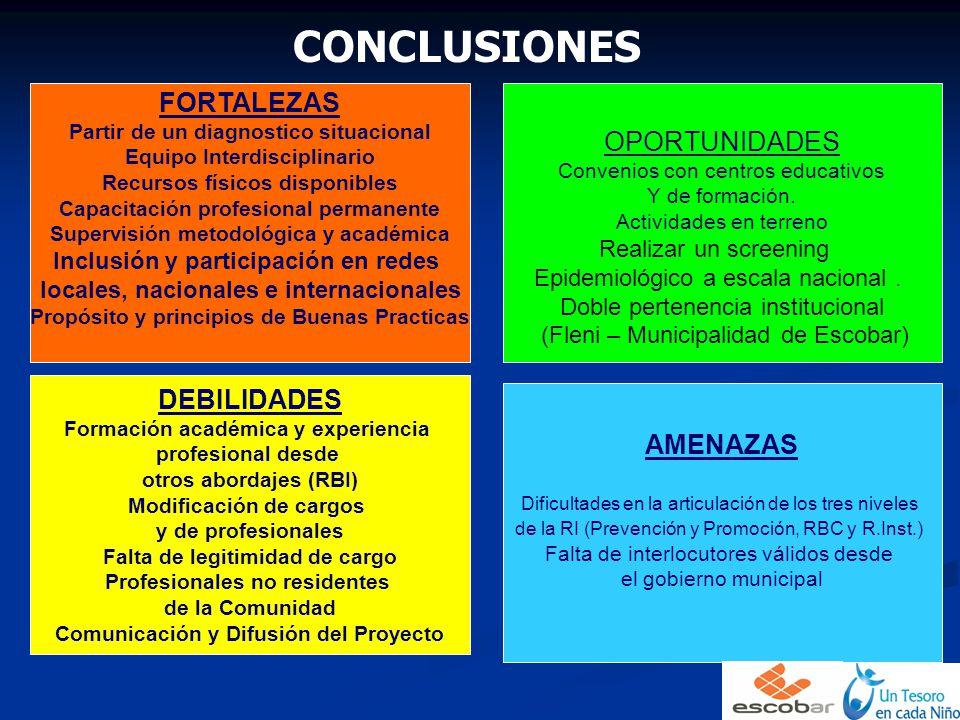 CONCLUSIONES FORTALEZAS Partir de un diagnostico situacional Equipo Interdisciplinario Recursos físicos disponibles Capacitación profesional permanent