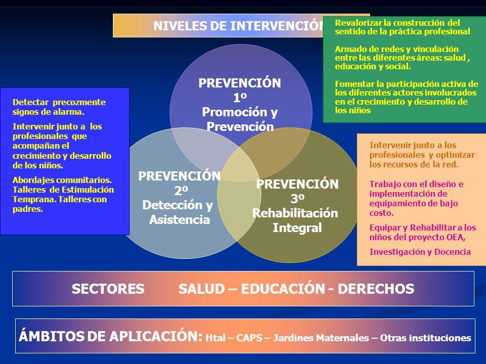 PREVENCIÓN 1º Promoción y Prevención PREVENCIÓN 2º Detección y Asistencia PREVENCIÓN 3º Rehabilitación Integral NIVELES DE INTERVENCIÓN SECTORES SALUD