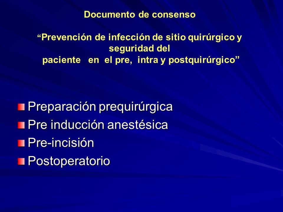 Documento de consenso Prevención de infección de sitio quirúrgico y seguridad del paciente en el pre, intra y postquirúrgico Preparación prequirúrgica