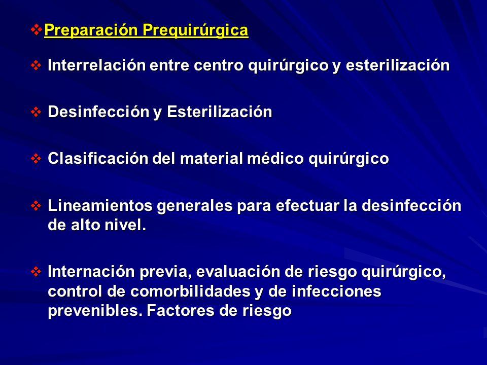Preparación Prequirúrgica Preparación Prequirúrgica Interrelación entre centro quirúrgico y esterilización Interrelación entre centro quirúrgico y est