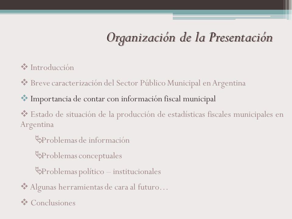 Organización de la Presentación Introducción Breve caracterización del Sector Público Municipal en Argentina Importancia de contar con información fis